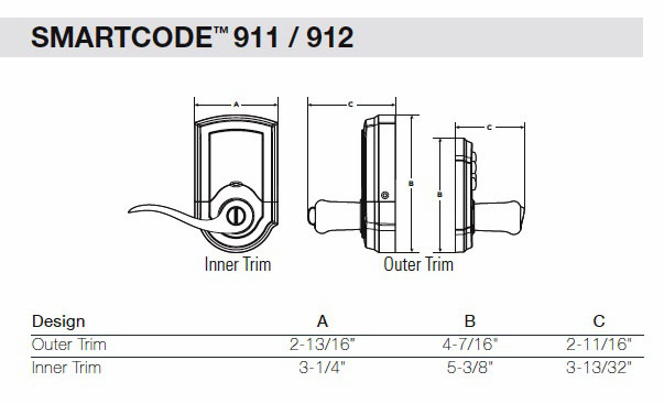 911 / 912 SmartCode Lever Dimensions
